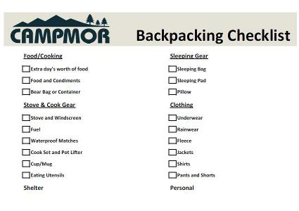 Backpacking Equipment Checklist  Campmor Outdoors